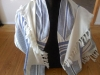 Traditional stripes, Blue on white, merino/silk