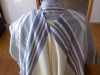Traditional stripes, full-size,  Blue on white, merino/silk