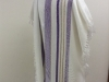 Twill and plain weave, full-size, red and purple on white, tencel