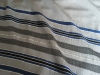 Bold stripes and twill, blue, black and silver on grey, bamboo